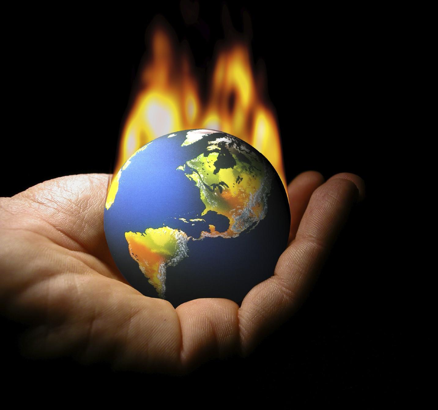 global crisis fire hand