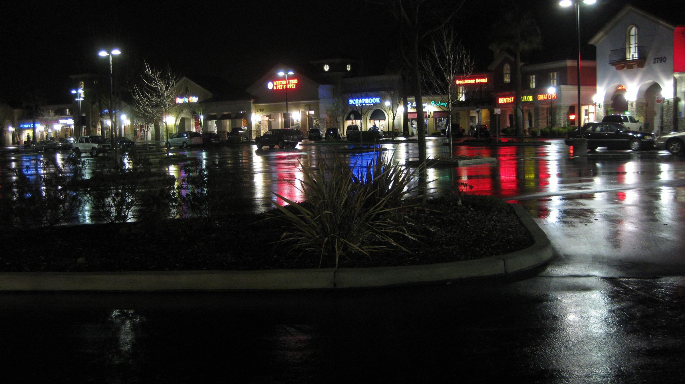 night rain plaza
