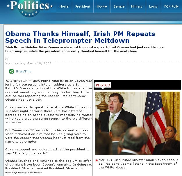 Obama Irish PM teleprompter meltdown FoxNews