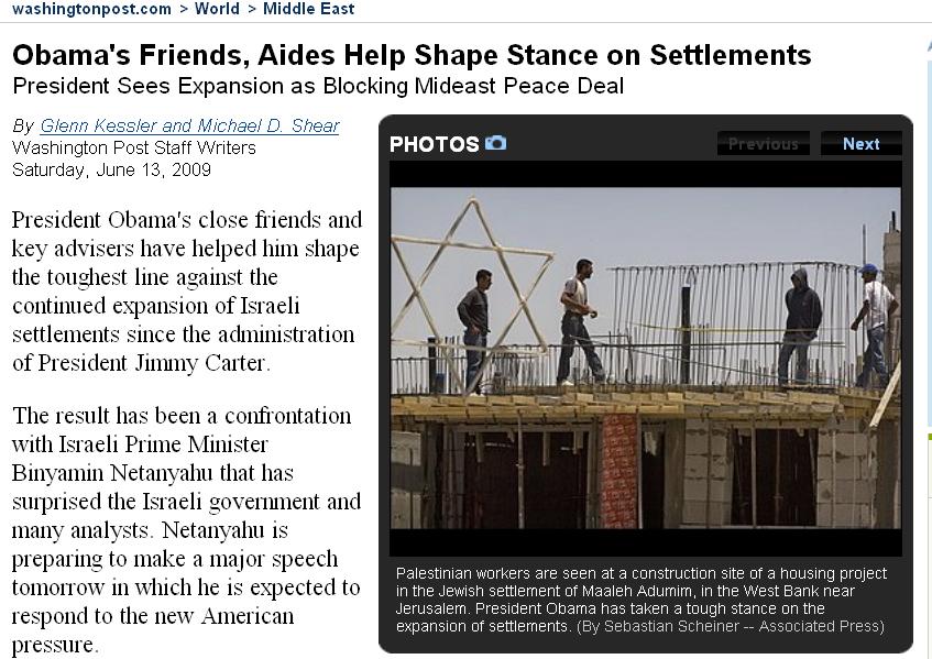 WP Obama Israel 061309