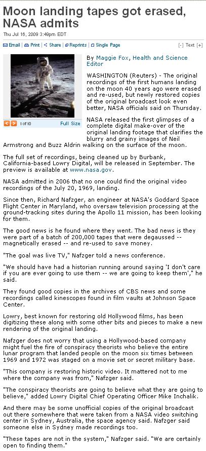 NASA Moon Landing Film Erased