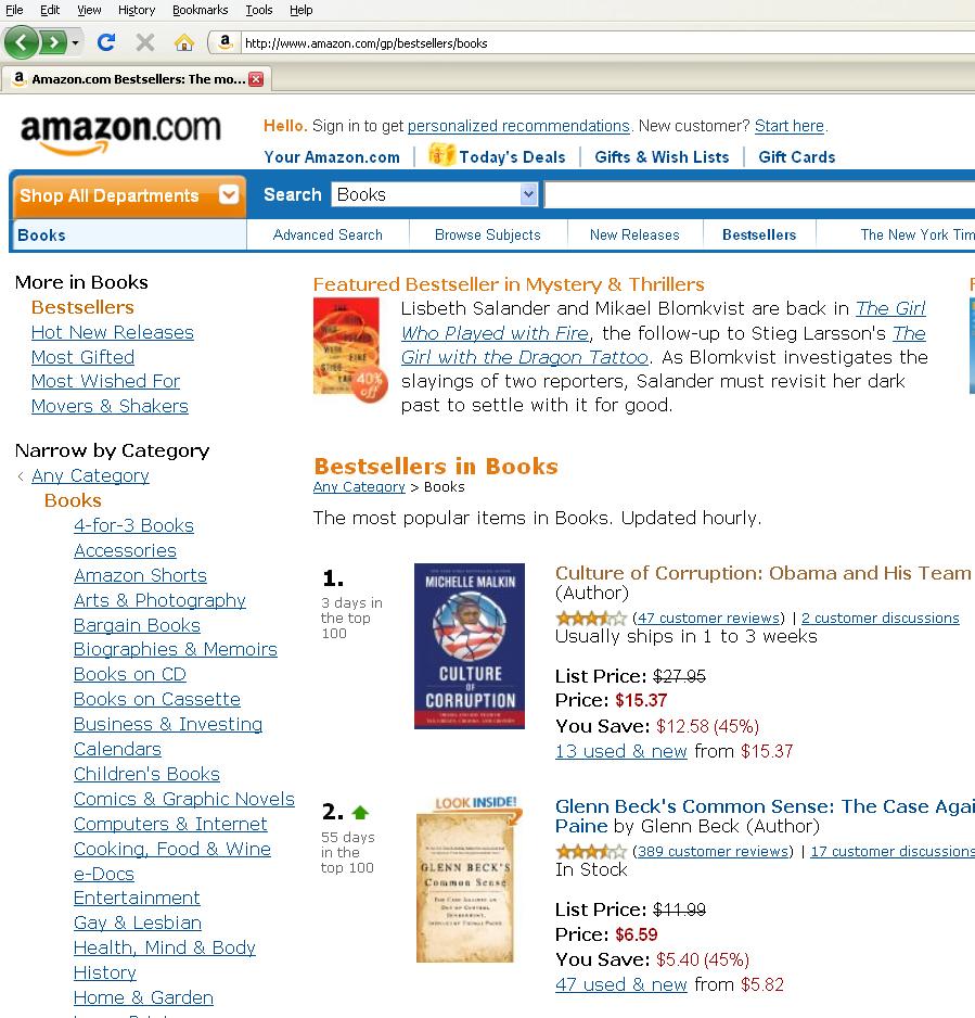 Malkin Obama Amazon Bestseller 072909
