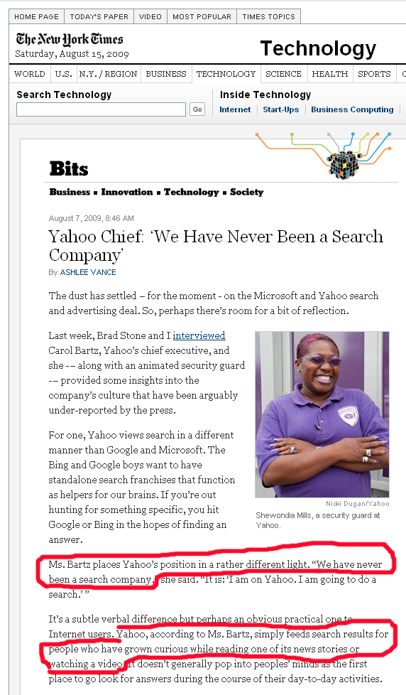Yahoo is Not a Search Engine
