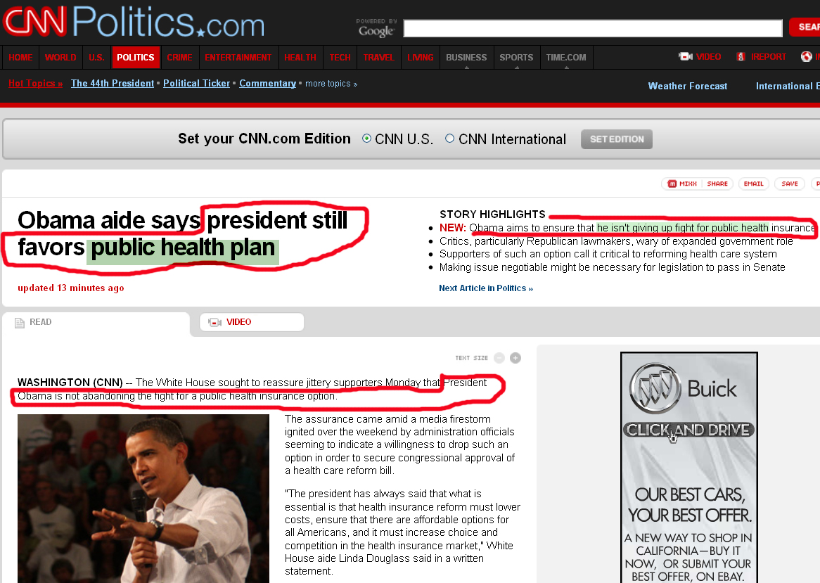 CNN Obama still favors public health plan