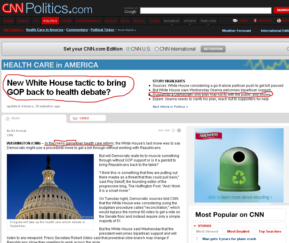 CNN: New White House tactic to bring GOP back to health debate?  081909