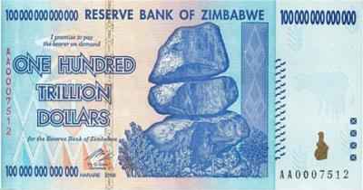 Zimbabwe one hundred trillions