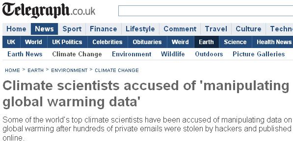 Climategate UK Telegraph Nov21 09