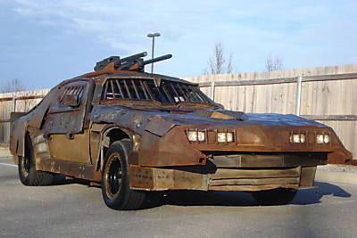 old car with machingun