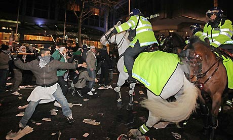 rioters attack horse police
