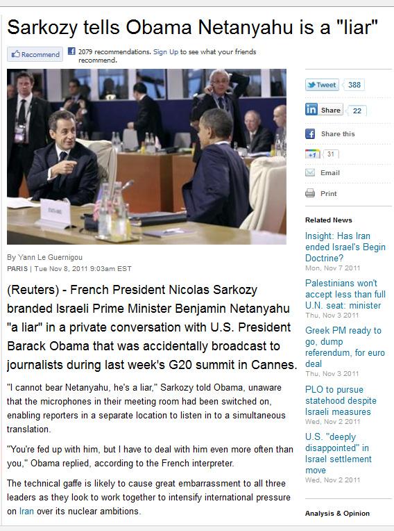 Sarkozy & Obama about Netanyahu