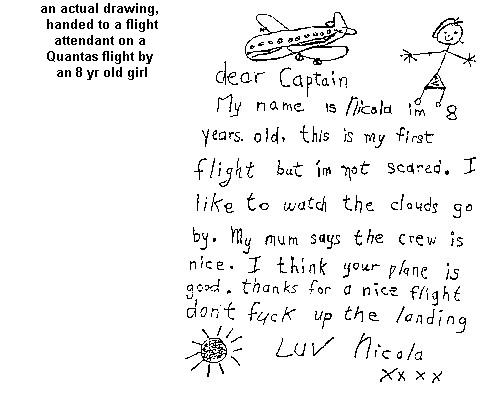 note to the plane's cap from young lady