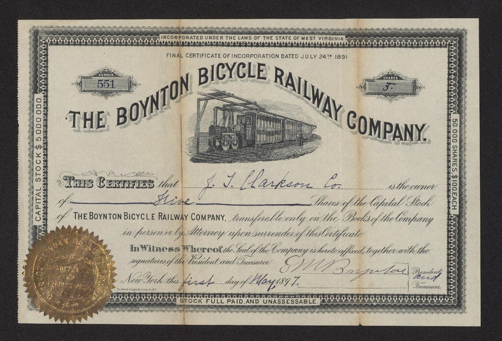 1892_Boynton_Bicycle_Railway_Company_Certificate