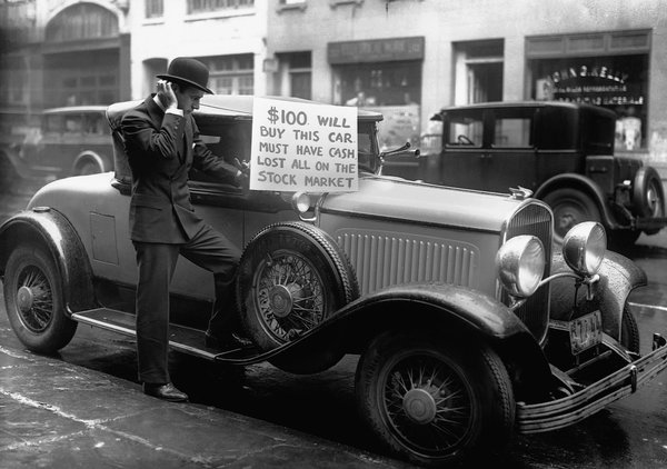 Oct 1929 stock market crash Investor sells luxury car for $100