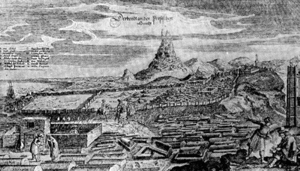 Дербент. Гравюра из 'Описания путешествия' А. Олеария. 1656 г.