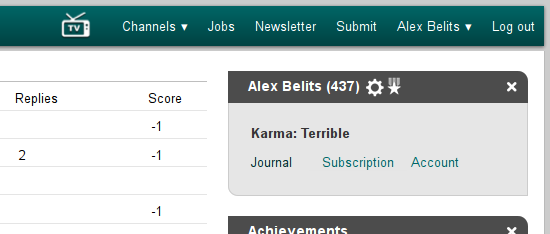 This is how my Slashdot user page looks now.