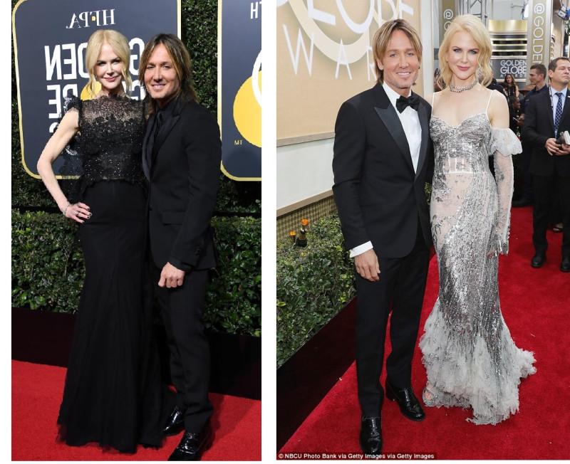 """С мужем на """"Золотых глобусах в 2018 и 2017 году. Даже задник при входе на церемонию изменился больше, чем образное содержание ее наряда."""