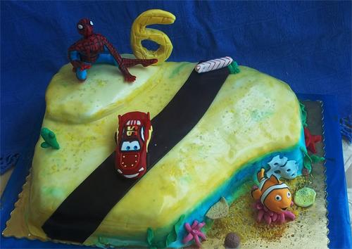 Торт со спайдерменом, Маквином и рыбкой Немо