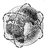 Рис. 14. Искусственный спутник может двигаться только в плоскости, проходящей через центр Земли.