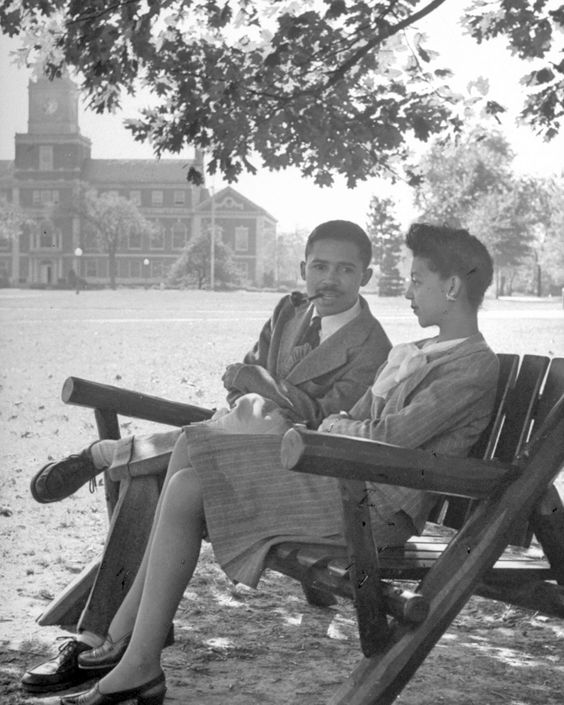A snapshot of the student body in 1946 at Howard University, a historically black campus.