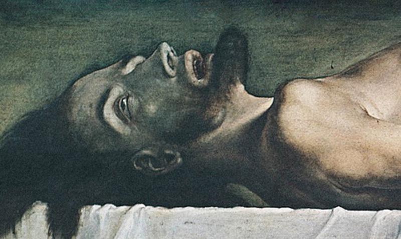 Фрагмент картины «Мертвый Христос в гробу»