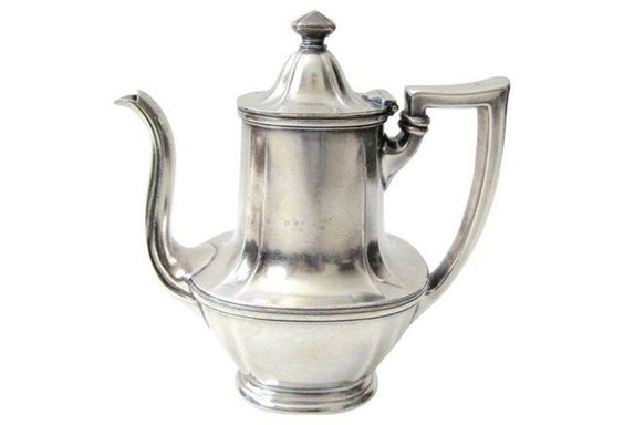 16 Gorham silver-plate hotel teapot made in 1924. Gorham marks on underside. Minor wear.jpg