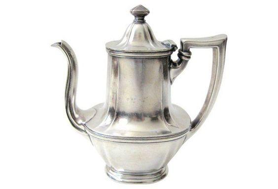 16 Gorham silver-plate hotel teapot made in 1924. Gorham marks on underside. Minor wear.jpg