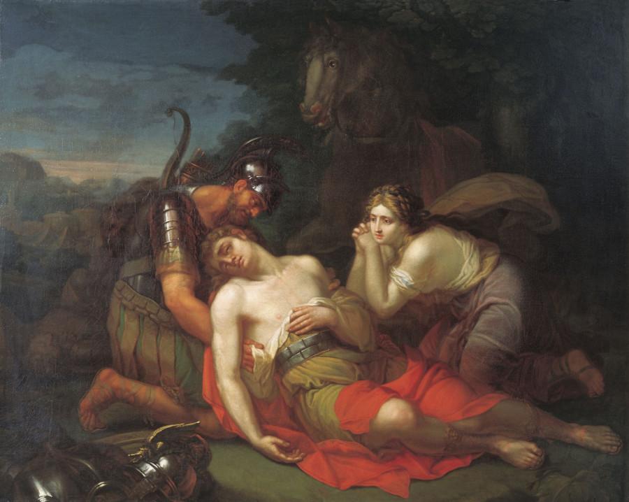 Эрминия и Вафрин находят раненного Танкреда.