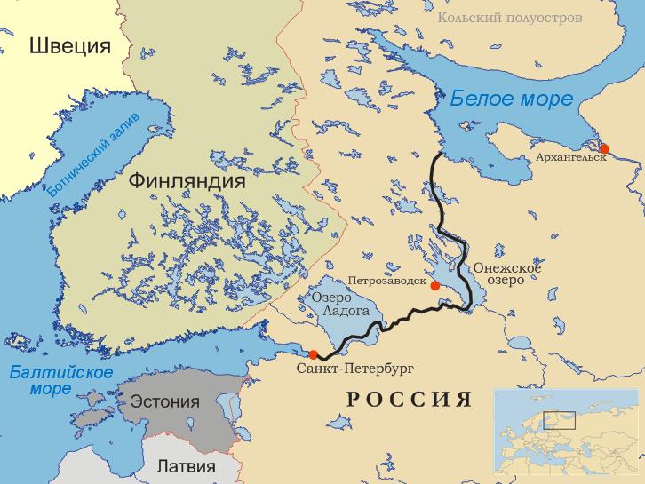Беломорканал на карте