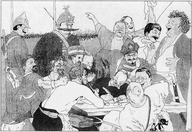"""Карикатура """"Большевики пишут ответ Керзону"""", опубликованная в №6 газеты """"Красный перец"""", 1923 год"""