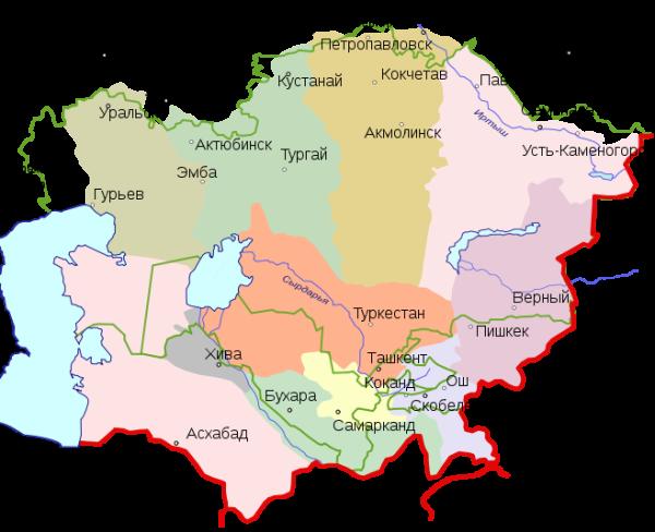 Россiя карта Средней Азии