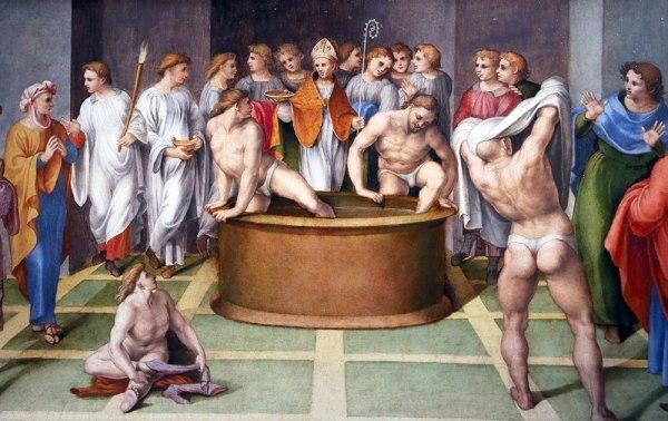Джиролама Дженга, Святой Августин совершает таинство крещения над оглашенными, 1516-1518