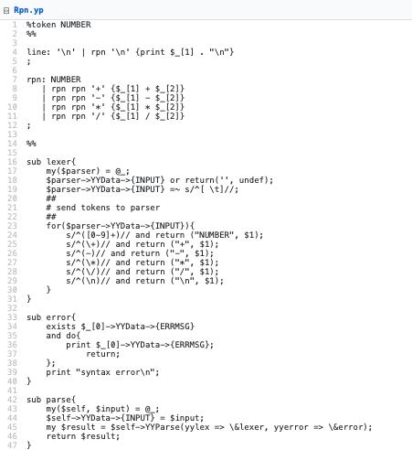 Rpn.yp The RPN calculator grammar.