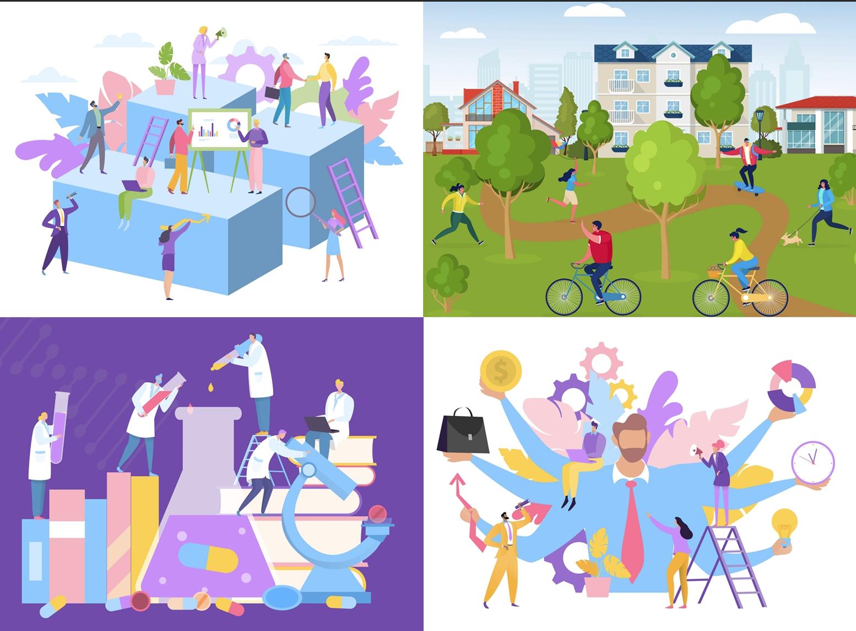 Пример дизайн-концептов из готовых иллюстраций авторов