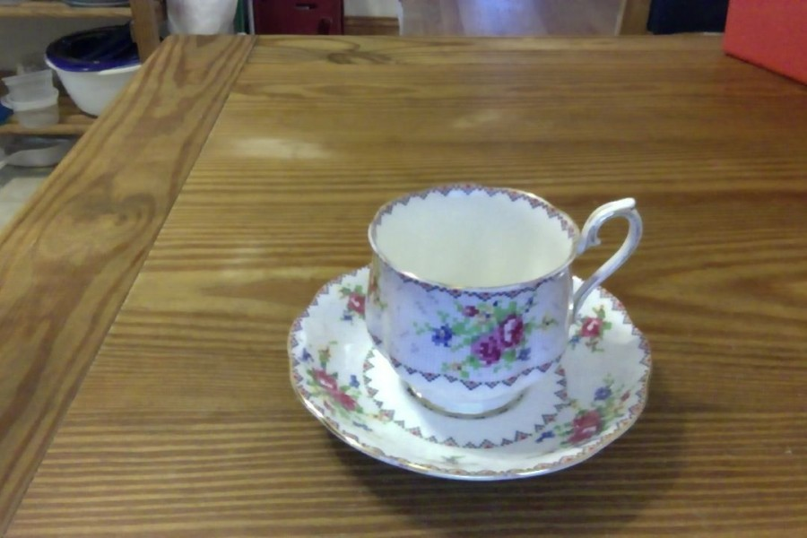 petit point cup and saucer