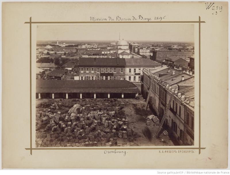 Оренбург, вид на двор Гостиного двора с колокольни Вознесенской церкви, Оренбург. 1896 г. фотограф К.Фишер.