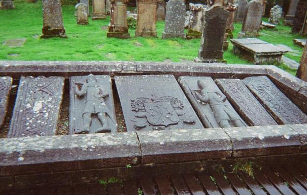 Re-used medieval grave slabs