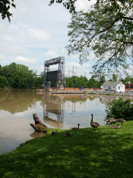 Canal lock, with geese