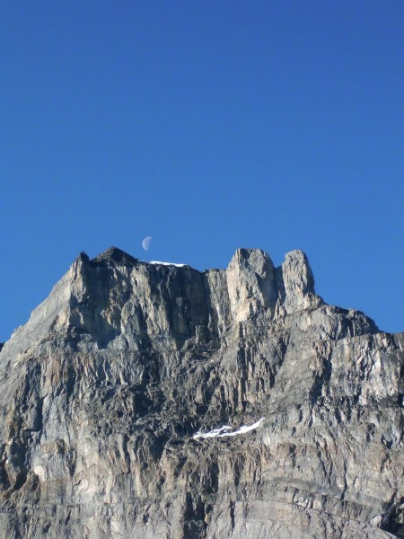 Early morning Moon over the mountain shoulder