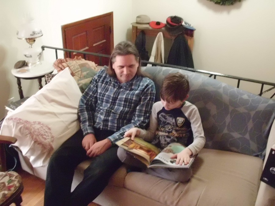 Uncle and Nephew reading together