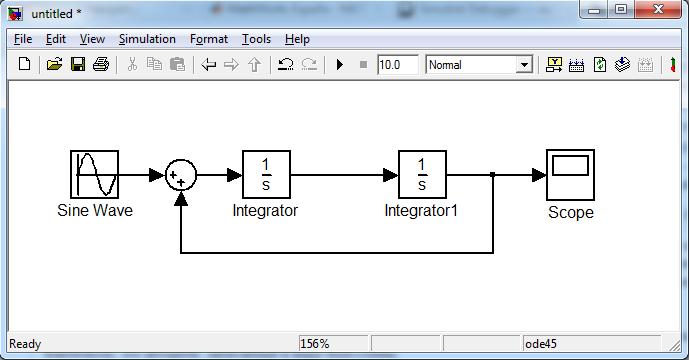 Рис. 1. Типичный пример блок-схемы в Simulink.