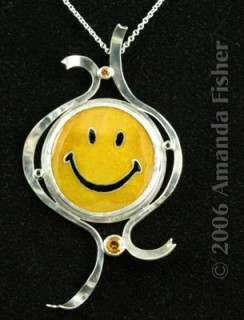 Cloisonné Smiley, in setting