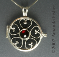 Filigree Scent/Aromatherapy Locket with Garnet