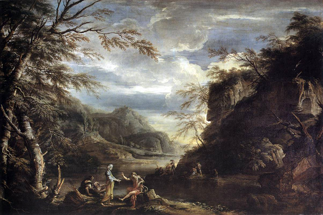salvador rosa - River Landscape with Apollo and the Cumean Sibyl, 1655 1