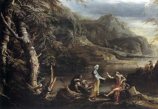 salvador rosa - River Landscape with Apollo and the Cumean Sibyl, 1655 2