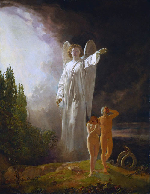 John Faed Expulsion Of Adam And Eve From The Garden Of Eden Ca 1880 Againstathorn