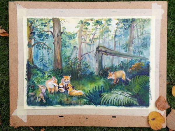 Утро в осеннем лесу (по мотивам :))) foxes_morning_1024px