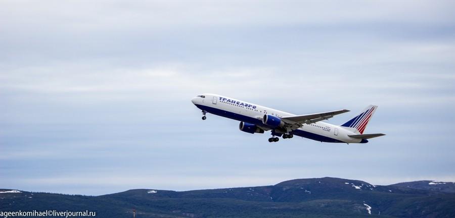 Взлет Boeing 767-300ER EI-RUY авиакомпании Трансаэро, на нем мы прилетели в Магадан