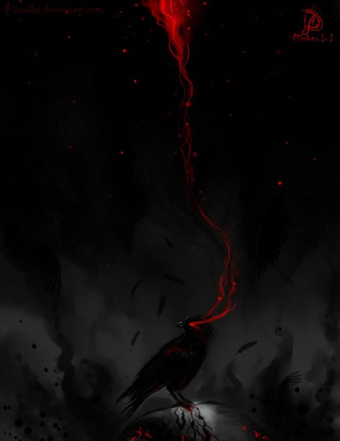 Картинка кровь и ворон