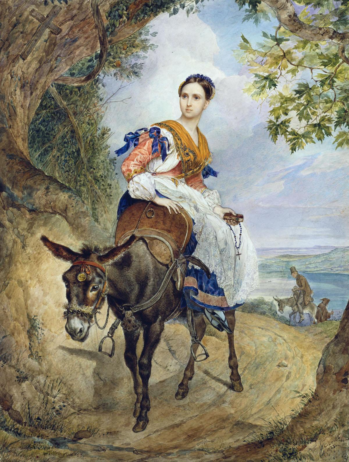 Портрет графини Ферзан на ослике