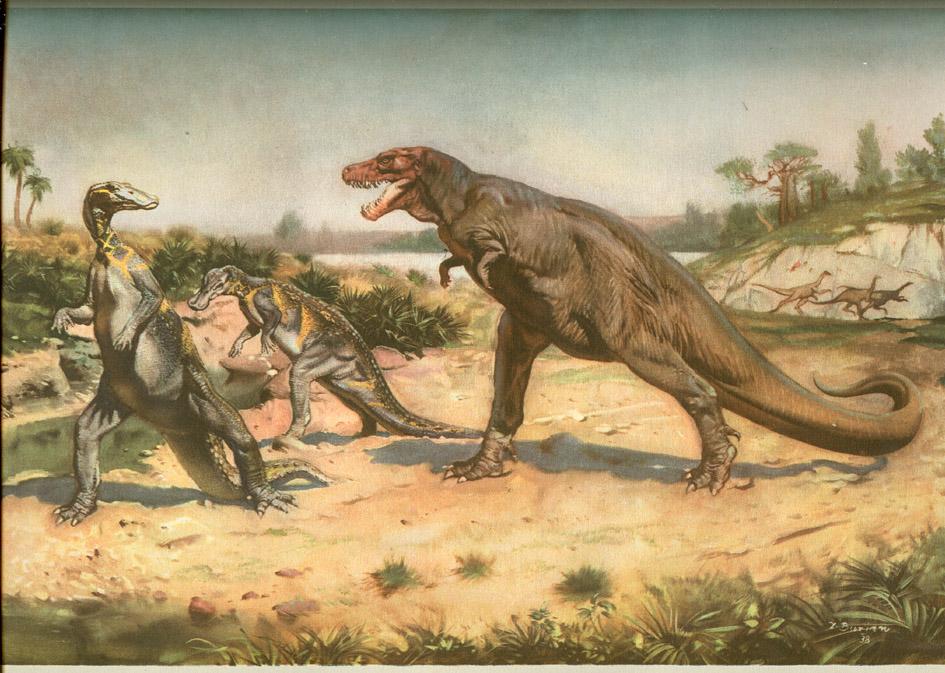 1 Тиранозавр рекс нападает на утконосых динозавров Зденек Буриан